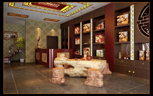 中式风格茶楼前台装修设计